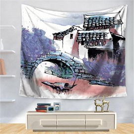 Artful Jiangnan Watertown Landscape Painting House Pattern Decorative Hanging Wall Tapestry