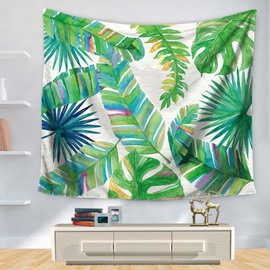 Watercolor Green Tropical Leaves Foliage Design Decorative Hanging Wall Tapestry
