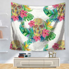 Pastorale Floral Style Colorful Skull Pattern White Decorative Hanging Wall Tapestry