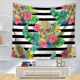 Colorful Floral Style with Black and White Stripes Skull Pattern Decorative Hanging Wall Tapestry