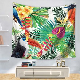 Various Vivid Birds with Palm Leaves Balmy Orchid Pattern Decorative Hanging Wall Tapestry