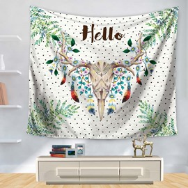 Hello Deer Cranium Leaves with Little Black Dot Pattern Decorative Hanging Wall Tapestry