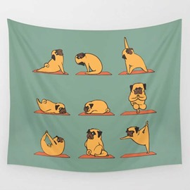 Cartoon Bulldog Doing Yoga Exercises Pattern Decorative Hanging Wall Tapestry