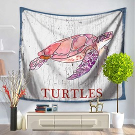 Pink Cartoon Old Turtles Ocean Pattern Decorative Hanging Wall Tapestry