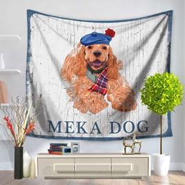 Cartoon Long Fur Meka Dog Pet Pattern England Style Decorative Hanging Wall Tapestry