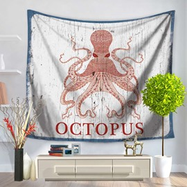 Red Cartoon Octopus Pattern Decorative Hanging Wall Tapestry