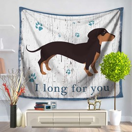 Dachshund Dog with I Long for you Words Pattern Decorative Hanging Wall Tapestry