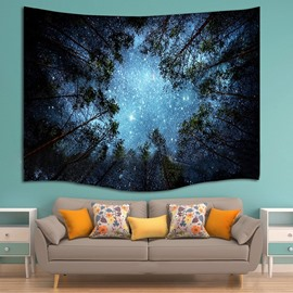 Dark Forest with Weak Light Glowworm Mystery Style Decorative Hanging Wall Tapestry