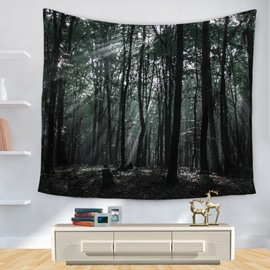 Mysterious Trees and Forest with Weak Sunlight Pattern Decorative Hanging Wall Tapestry