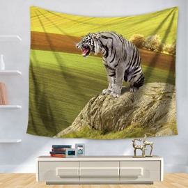 Cruel Tiger and Wide Field Pattern Decorative Hanging Wall Tapestry