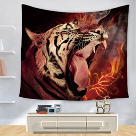 Murderous Tiger Opens Big Mouth with Fire Cool Pattern Decorative Hanging Wall Tapestry