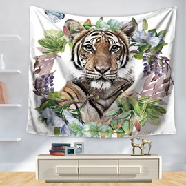 Watercolor Tiger with Flowers and Butterfly Pattern Decorative Hanging Wall Tapestry