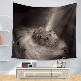 Moon Surface and Universal Planet Pattern Modern Style Decorative Hanging Wall Tapestry