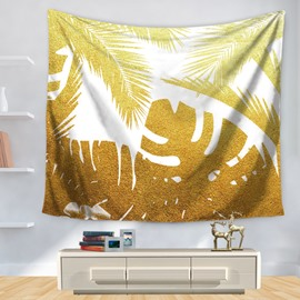 Gold Artful Abstract Palm Tree Leaves Nature Theme Decorative Hanging Wall Tapestry
