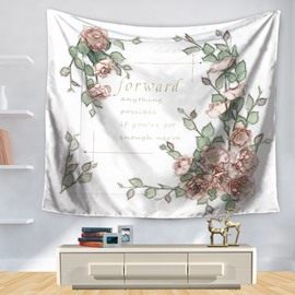 Floral Blossom and Inspiration Words Print Decorative Hanging Wall Tapestry