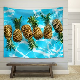 Pineapple with Green Palm Leaves Nature Theme Decorative Hanging Wall Tapestry