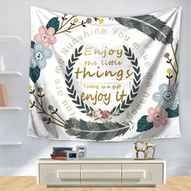 Floral Garland and Enjoy Little Things Words Print Decorative Hanging Wall Tapestry