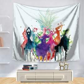 Multicolored Rainbow Dancing Girls with Huge Pineapple Pattern Decorative Hanging Wall Tapestry