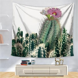 Watercolor Hot South Desert Plant Cactus with Flowers Pattern Decorative Hanging Wall Tapestry