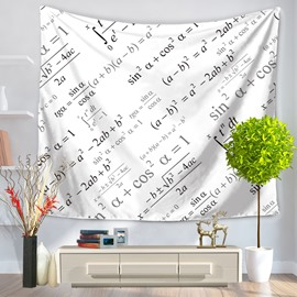 Trigonometric Function Mathematics Equation Pattern White Decorative Hanging Wall Tapestry