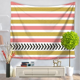 Vintage Popular Black Zig Zag Yellow Pink White Stripes Pattern Decorative Hanging Wall Tapestry