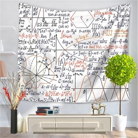 Mathematics Exponential Function with White Bottom Color Pattern Decorative Hanging Wall Tapestry