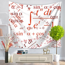 Red Color Trigonometric Function with White Bottom Color Pattern Decorative Hanging Wall Tapestry