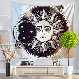 Anthropopathic Sun and Moon Black and White Pattern Decorative Hanging Wall Tapestry