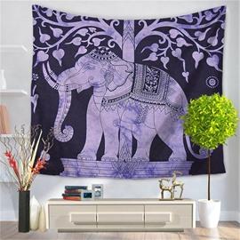 Block Print Mandala Elephant Psychedelic TreesDecorative Hanging Wall Tapestry
