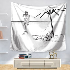 Stick Drawing Beautiful Maid Beach Umbrella Seaside Holiday Decorative Hanging Wall Tapestry
