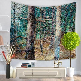 Oil Painting Jungle Trees Artwork Modern Style Decorative Hanging Wall Tapestry