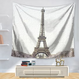 Stick Drawing Abstract Paris Eiffel Tower Decorative Hanging Wall Tapestry