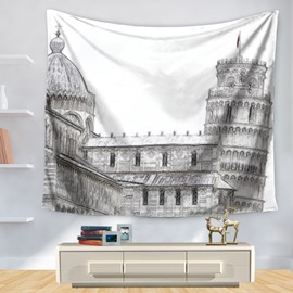 Pencil Sketch Italy Architecture the Leaning Tower of Pisa Pattern Decorative Hanging Wall Tapestry