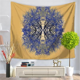 Abstract Blue Plant Yellow Decorative Hanging Wall Tapestry