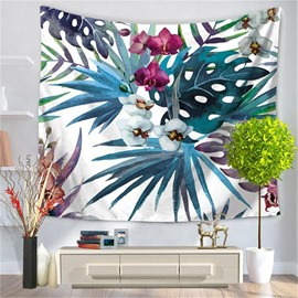 Palm And Floral with White Bottom Decorative Hanging Wall Tapestry