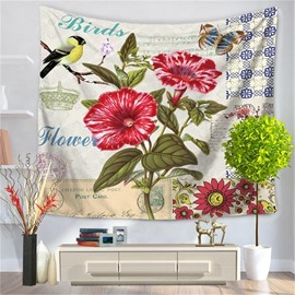Pink Morning Glory with Bird Postcard Style Decorative Hanging Wall Tapestry