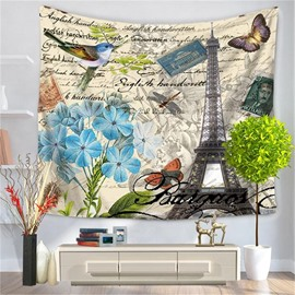 Paris Eiffel Tower with Butterfly Bird and Flower Postcard Style Decorative Hanging Wall Tapestry