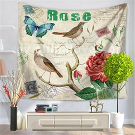 Intoxicating Roses with Butterfly Bird Postcard Style Decorative Hanging Wall Tapestry
