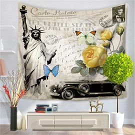 Statue of Liberty Car with Rose and Butterfly Pattern Decorative Hanging Wall Tapestry