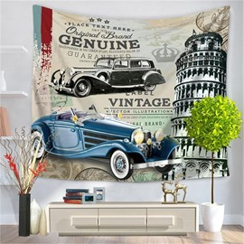Rome the Leaning Tower of Pisa Vintage Cars Label Pattern Decorative Hanging Wall Tapestry