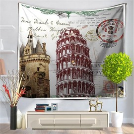 Rome the Leaning Tower of Pisa Postcard Pattern Decorative Hanging Wall Tapestry