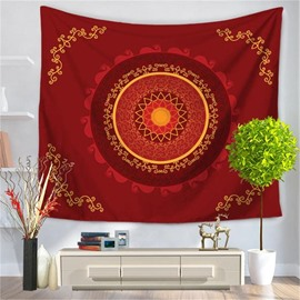 Red Hippy Samsara Mandala Bohemian Indian Pattern Ethnic Style Decorative Hanging Wall Tapestry