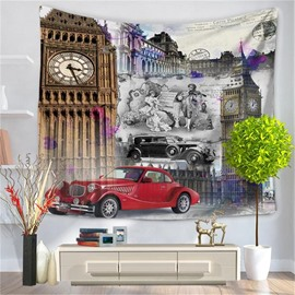 Tower Musician Vintage Cars Pattern Decorative Hanging Wall Tapestry