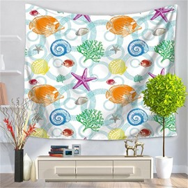 Colorful Sea Fish Coral Shell Pattern Decorative Hanging Wall Tapestry