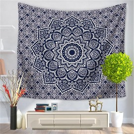 Black Floral Hippy Mandala Bohemian Indian Pattern Ethnic Style Decorative Hanging Wall Tapestry