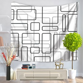 Various Rectangle White Bottom Color Pop Style Decorative Hanging Wall Tapestry