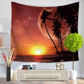 Beautiful Nature Sunset Universe Ocean Birds Pattern Decorative Hanging Wall Tapestry
