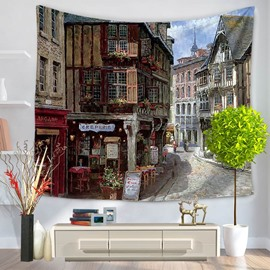 Oil Painting European Street Creperie Pattern Decorative Hanging Wall Tapestry