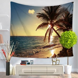 Sea Scenery Palm Trees with Sunset Casual Holiday Pattern Decorative Hanging Wall Tapestry