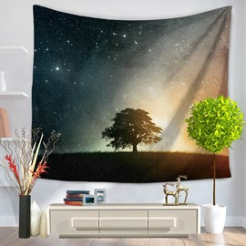 Tree of Life under the Galaxy Milky Way Pattern Decorative Hanging Wall Tapestry